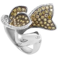 18 Karat White Gold Champagne Diamond Ring