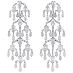 18 Karat White Gold Chandelier Diamond Earrings