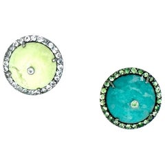 18 Karat White Gold Chrysophrase and Aventurine Martha Stud Earrings