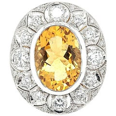 18 Karat White Gold Citrine and Diamonds Cocktail Ring