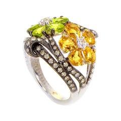 18 Karat White Gold Citrine Flowers and Diamond Ring