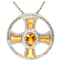 18 Karat White Gold Citrine, Orange Mother-of-Pearl and Diamond Pendant