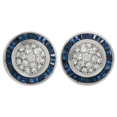 18 Karat White Gold Clip-On Diamonds and Sapphire Earrings