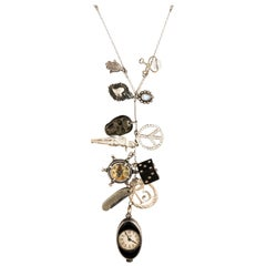 18 Karat White Gold Clock Charm Necklace