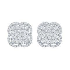 18 Karat White Gold Clover Diamond Earrings