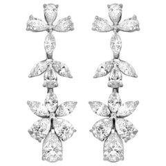 18 Karat White Gold Cluster Diamond Earrings