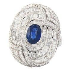 18 Karat White Gold Cocktail Ring Diamond with Sapphire Stone