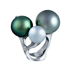 18 Karat White Gold Cocktail Ring with White South Sea and Grey Tahitian Pearls