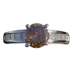 18 Karat White Gold Cognac and White Diamond Ring 1.48 Carat 4.2 Grams