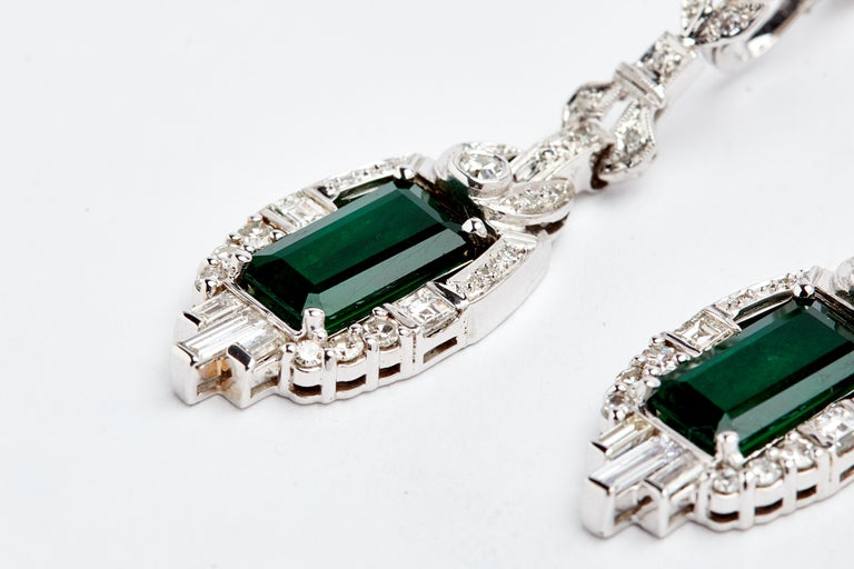 Women's 18 Karat White Gold Colombian Emeralds and Diamonds Earrings For Sale