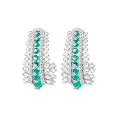 18 Karat White Gold Columbian Emerald and Diamond Earrings