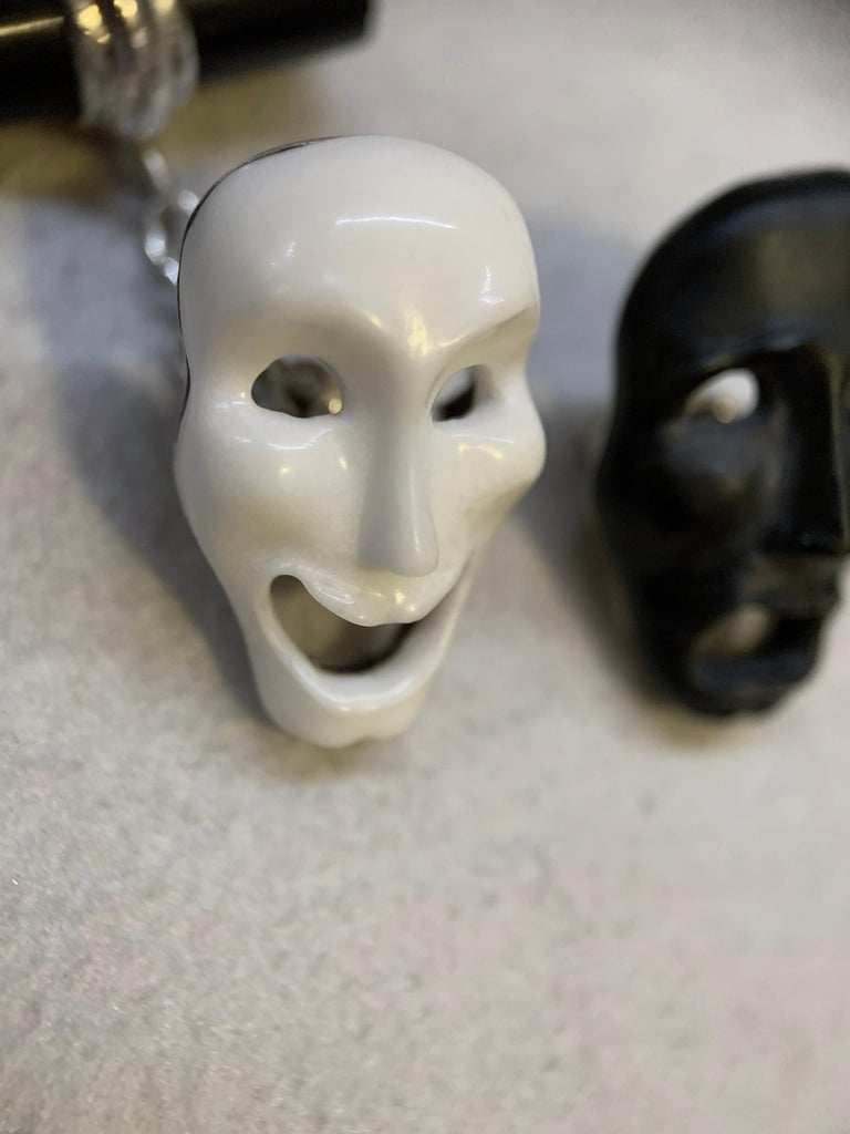 Comedy and Tragedy theater masks cufflinks totally hand carved , made in white agate and black onyx. Mounting in 18 karat white gold.  Alterations can be made in Yellow or White Gold. The bars variations are Onyx, White Agate, Lapis Lazuli, Mother