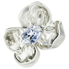 18 Karat White Gold Contemporary Brooch with Light Blue Sapphire
