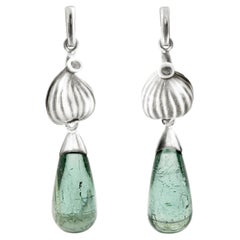 18 Karat White Gold Contemporary Earrings with Blue Tourmalines and Diamonds