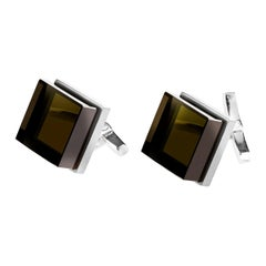 18 Karat White Gold Contemporary Ink Cufflinks by the Artist with Smoky Quartz