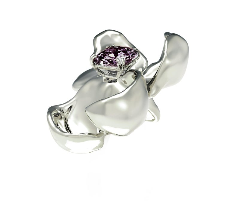 Cushion Cut 18 Karat White Gold Contemporary Magnolia Brooch with Ink Purple Spinel For Sale