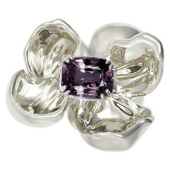18 Karat White Gold Contemporary Magnolia Brooch with Ink Purple Spinel