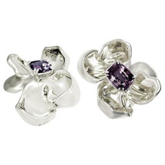 18 Karat White Gold Contemporary Magnolia Clip-On Earrings with Ink Spinels