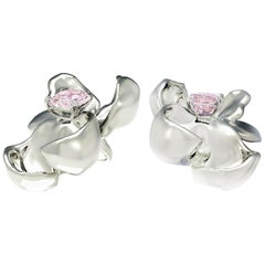 18 Karat White Gold Contemporary Magnolia Clip-On Earrings with Spinels