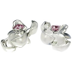 18 Karat White Gold Contemporary Magnolia Clip-On Earrings with Storm Spinels