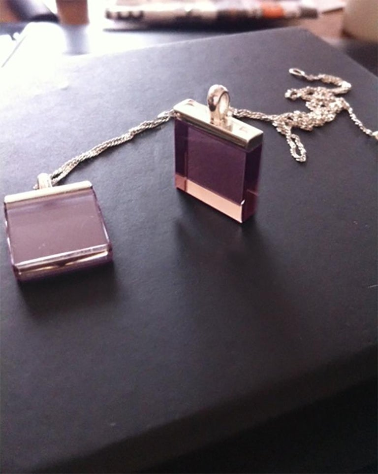 Mixed Cut 18 Karat White Gold Contemporary Pendant Necklace with Rose Quartz by Artist For Sale