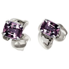 18 Karat White Gold Contemporary Stud Earrings with Cushion Purple Ink Spinels
