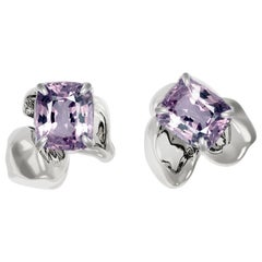18 Karat White Gold Contemporary Stud Earrings with Cushion Purple Spinels