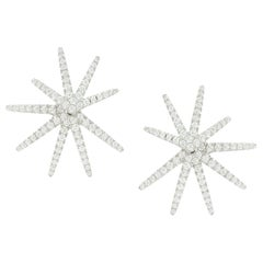 18 Karat White Gold Convertible Star Diamond Earring Jackets Studs .94 Carat