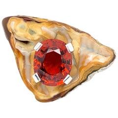 """18 Karat White Gold """"Coral Fossile"""" Spessartite 10.50 Carat Ring"""