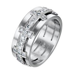 18 Karat White Gold Cross Diamond Band