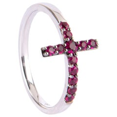 18 Karat White Gold Cross Ring Feature with Rubys