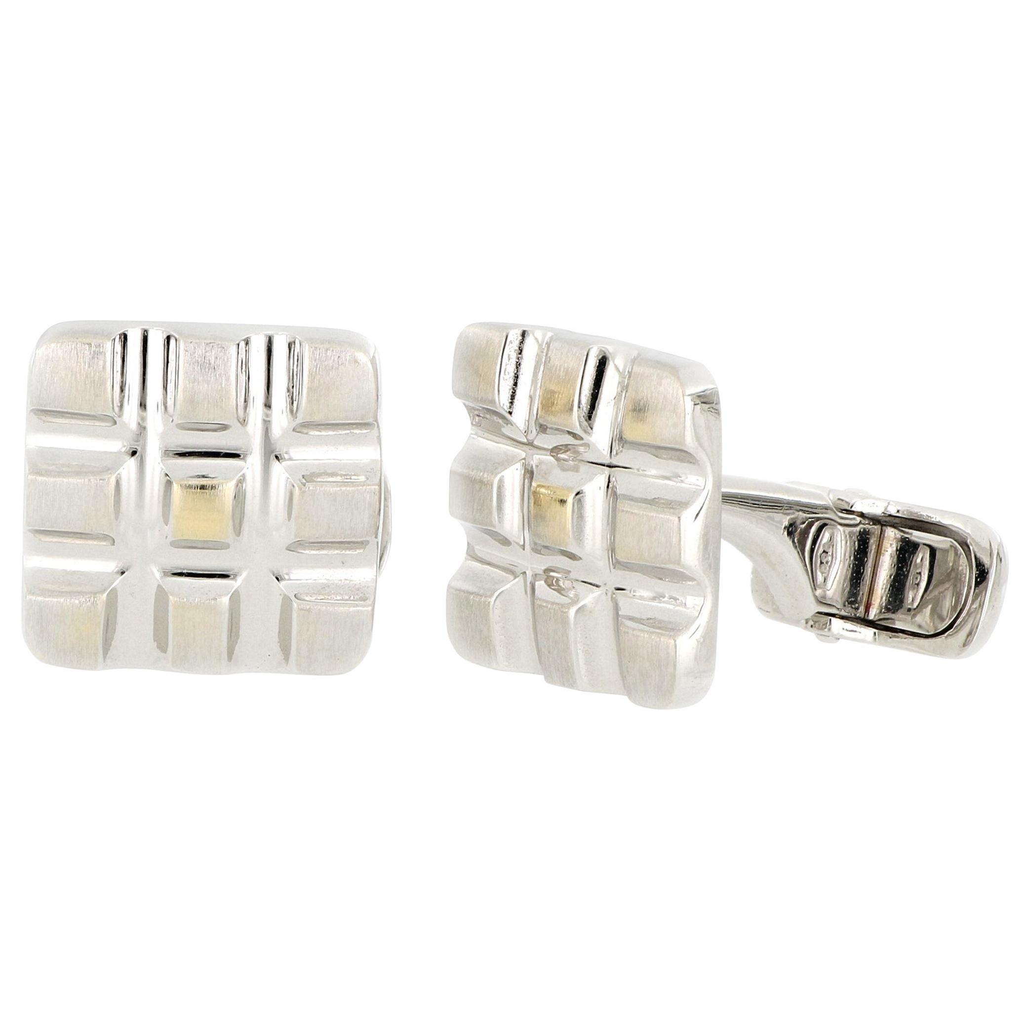 18 Karat White Gold Cufflinks