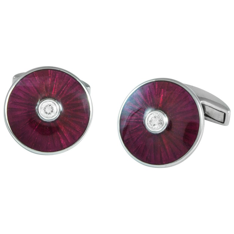 18 Karat White Gold Cufflinks with Pink Enamel and Diamond Centre For Sale