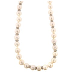 18 Karat White Gold Cultured South Sea Pearl and Diamond Necklace GIA Report