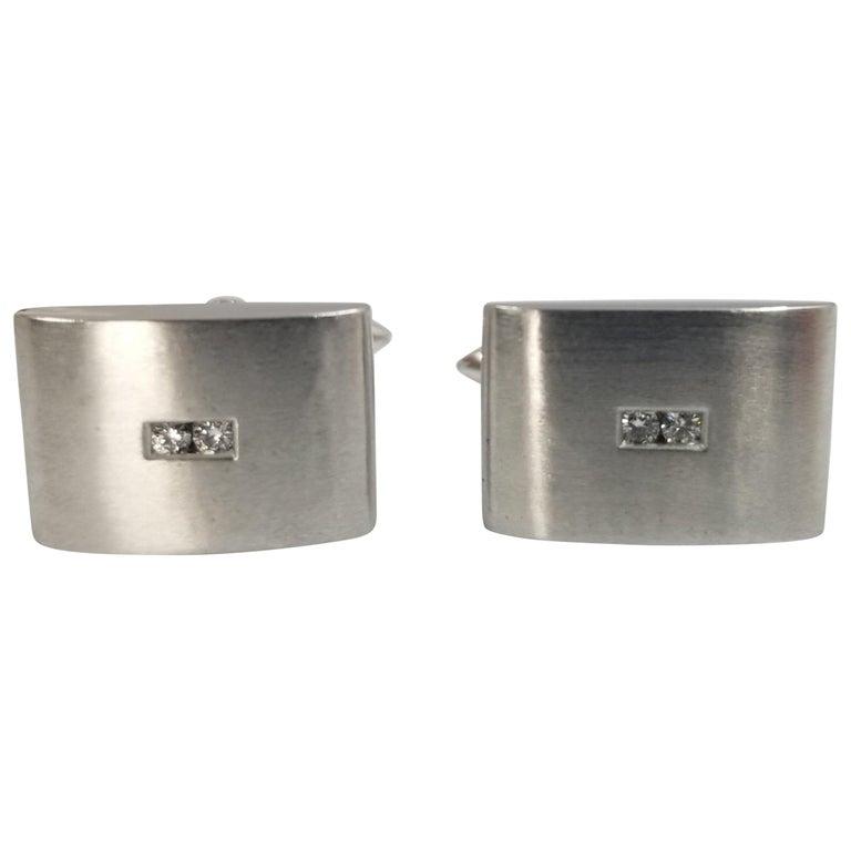 18 Karat White Gold Curved Diamond Cufflinks For Sale
