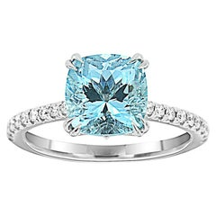 18 Karat White Gold Cushion Aquamarine Ring 'Center 2.30 Carat.'