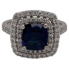 18 Karat White Gold Cushion Ceylon Sapphire & Diamond Ring 1.92 Carats