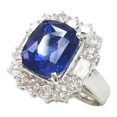 18 Karat White Gold Cushion Cut 7.17 Carat Blue Sapphire and Diamond Ring