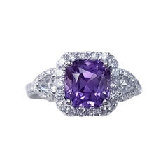 18 Karat White Gold Cushion Cut Natural Lilac Colored Sapphire and Diamond Ring