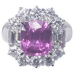 18 Karat White Gold Cushion Cut Natural No Heat Pink Sapphire and Diamond Ring