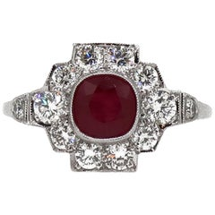 18 Karat White Gold Cushion Cut Ruby and Diamond Art Deco Style Cluster Ring