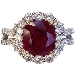 GIA 18 Karat White Gold Cushion Cut Ruby and Diamond Ring