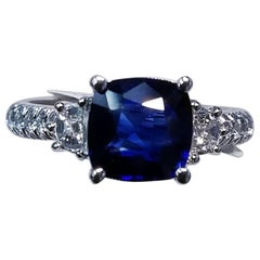 18 Karat White Gold Cushion Cut Sapphire and Genuine Diamond Ring