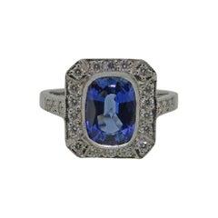 18 Karat White Gold Cushion Cut Sapphire & Diamond Art Deco Style Cluster Ring