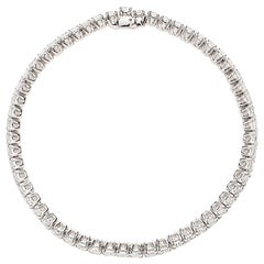 18 Karat White Gold Cushion Diamond Bracelet