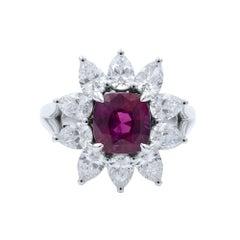 18 Karat White Gold Cushion Ruby Pear Cut Diamonds Flower Ring