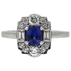 18 Karat White Gold Cushion Sapphire and Diamond Art Deco Style Cluster Ring