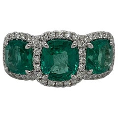 18 Karat White Gold Cushion Three Stone Emerald & Diamond Ring  4.87 Carats