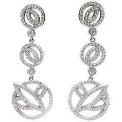 18 Karat White Gold Dangle Diamond Round Circle Earrings