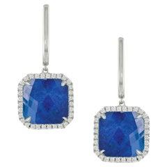 18 Karat White Gold Dangle Earrings with Lapis Lazuli, White Quartz and Diamonds